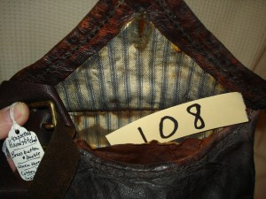 #108 Possible Bag - Sold to Columbia Pictures. The hand stitched , hand-made hunting pouches # 108, 109, 110, 111, 112 were sold to Colombia Pictures to be used in The Revenant Movie which came out in 2015 or 2016.