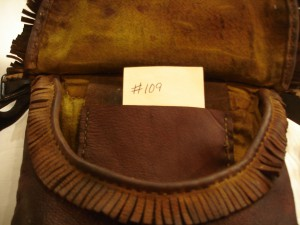 109 inside - Sold to Columbia Pictures. The hand stitched , hand-made hunting pouches # 108, 109, 110, 111, 112 were sold to Colombia Pictures to be used in The Revenant Movie which came out in 2015 or 2016.