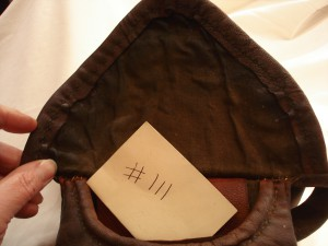 #111 inside - Sold to Columbia Pictures. The hand stitched , hand-made hunting pouches # 108, 109, 110, 111, 112 were sold to Colombia Pictures to be used in The Revenant Movie which came out in 2015 or 2016.